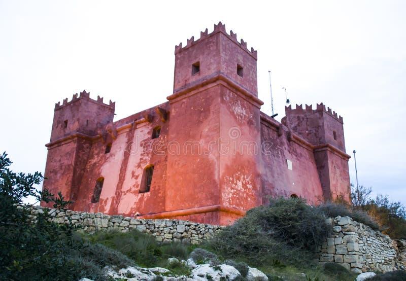 St阿佳莎的塔或红色塔在Mellieha,马耳他 库存图片