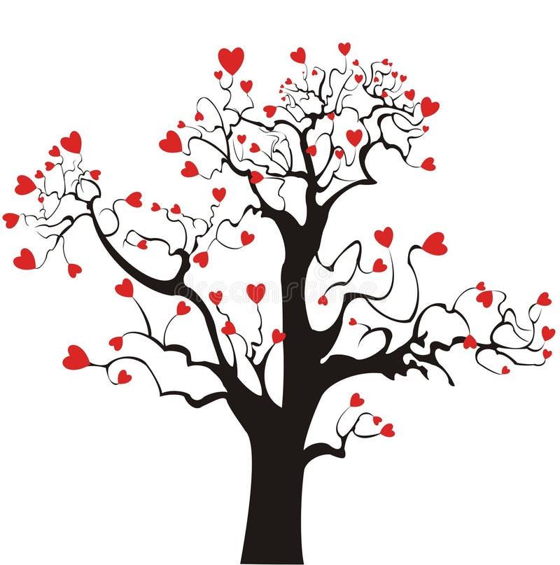 St. Árbol de amor del `s de la tarjeta del día de San Valentín ilustración del vector