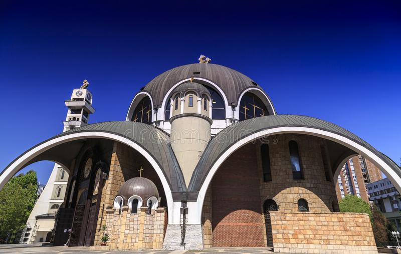 St Łagodny Ohrid lub Kliment Ohridski kościół w Skopje obraz stock