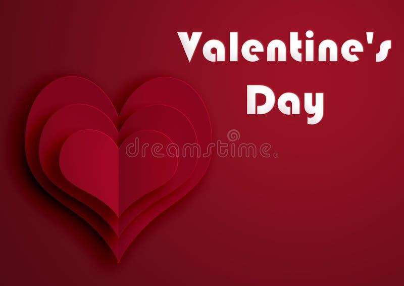 St День ` s Валентайн сердца красные Иллюстрация на красной предпосылке стоковая фотография