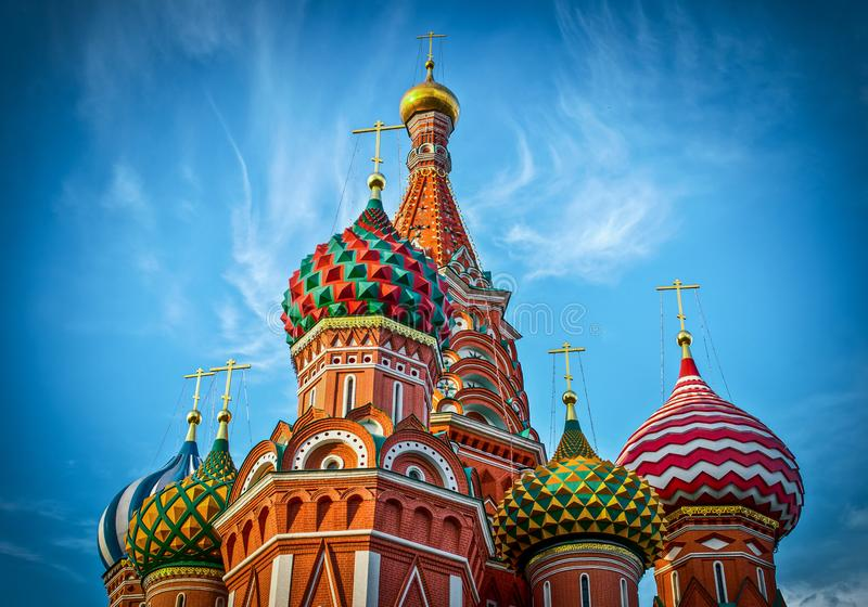 st красного квадрата moscow собора базиликов стоковое фото rf
