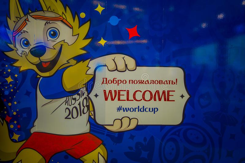 ST 彼得斯堡,俄罗斯, 2018年5月02日:2018年世界杯足球赛狼的正式吉祥人在戏剧的Zabivaka 库存照片