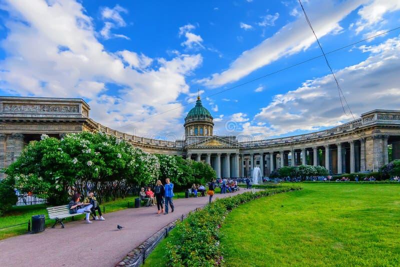 ST 彼得斯堡,俄罗斯- 2015年6月:喀山大教堂 图库摄影