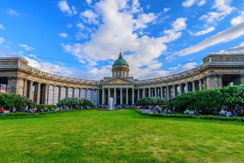 ST 彼得斯堡,俄罗斯- 2015年6月:喀山大教堂 库存照片