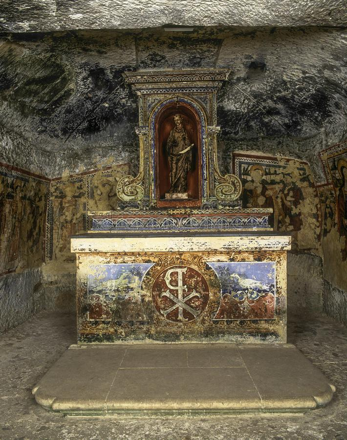 St. Agatha`s Catacombs,Malta. One of the oldest places of Christian worship on Malta, this underground Basilica was used by St Agatha to practice Christianity stock photos