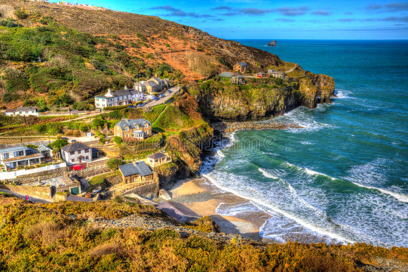 St Agnes Cornwall England United Kingdom entre Newquay y St Ives en HDR colorido imágenes de archivo libres de regalías