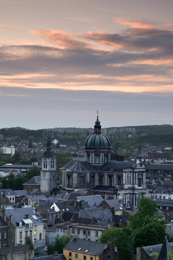 St. Alban's Cathedral - Namur, Belgium. St. Alban's Cathedral from Namur, Belgium at sunset royalty free stock image