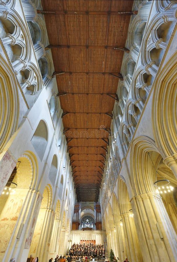 St Albans Abbey Quire praktijk Normandische architectuur royalty-vrije stock afbeelding