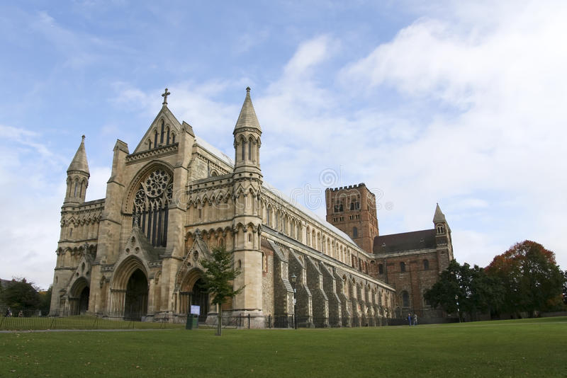 St albans cathedral hertfordshire england stock photo