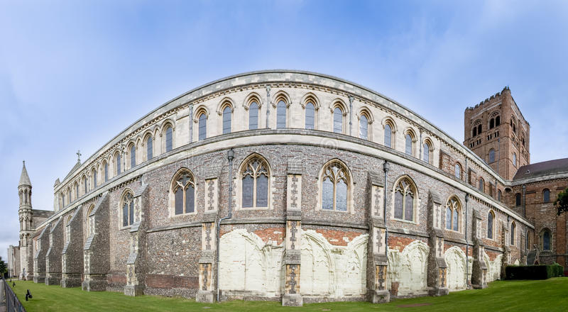 St albans cathedral wall panorama england royalty free stock photo