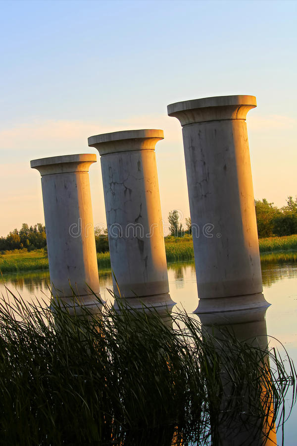 St. Albert, Alberta, Canada - June 25, 2017: Existing bridge pillars allowing for the future twinning of Ray Gibbon Drive.  royalty free stock photo