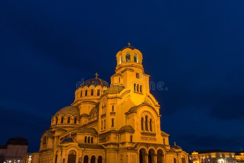 St. Alexander Nevski Cathedral in Sofia, Bulgaria. Night view of illuminated Saint Alexander Nevski Cathedral in central Sofia, capital of Bulgaria stock photography