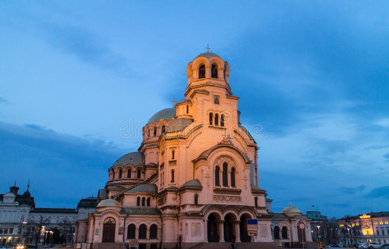 St. Alexander Nevski Cathedral in Sofia, Bulgaria. Night view of illuminated Saint Alexander Nevski Cathedral in central Sofia, capital of Bulgaria stock photo