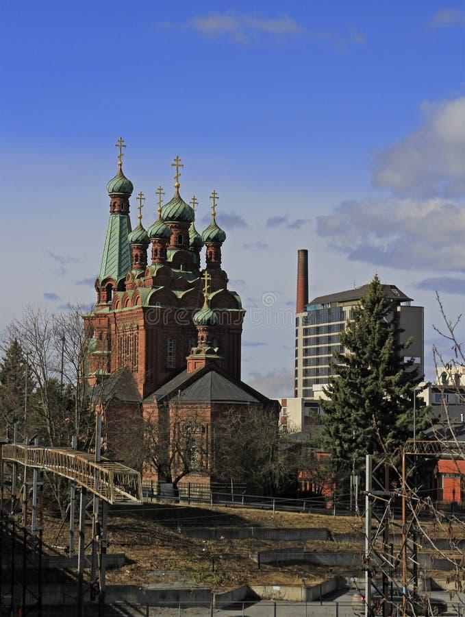 St. Alexander Nevski Orthodox church of Tampere. Finland royalty free stock image