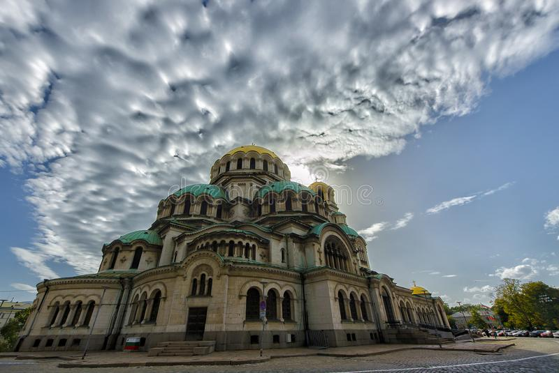 St Alexander Nevsky et le nuage photos stock