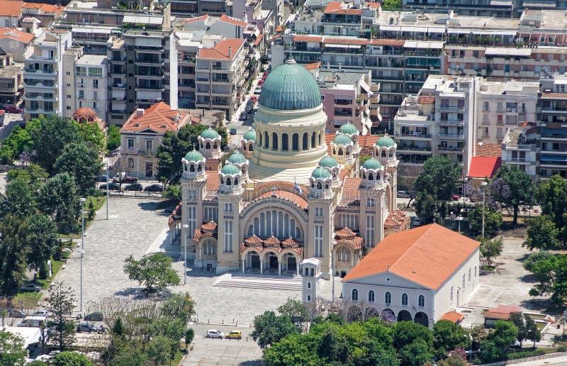 St Andrew Cathedral en Patra, visión aérea fotografía de archivo