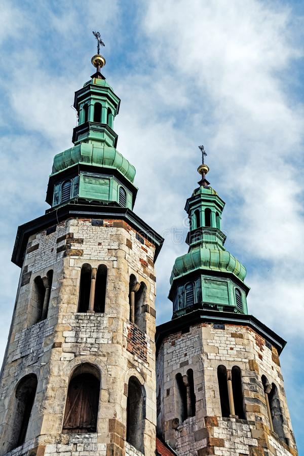 St. Andrew church. In the Old Town in Krakow, Poland. Romanesque church built between 1079 - 1098 is a rare surviving example of the European fortress church stock photography