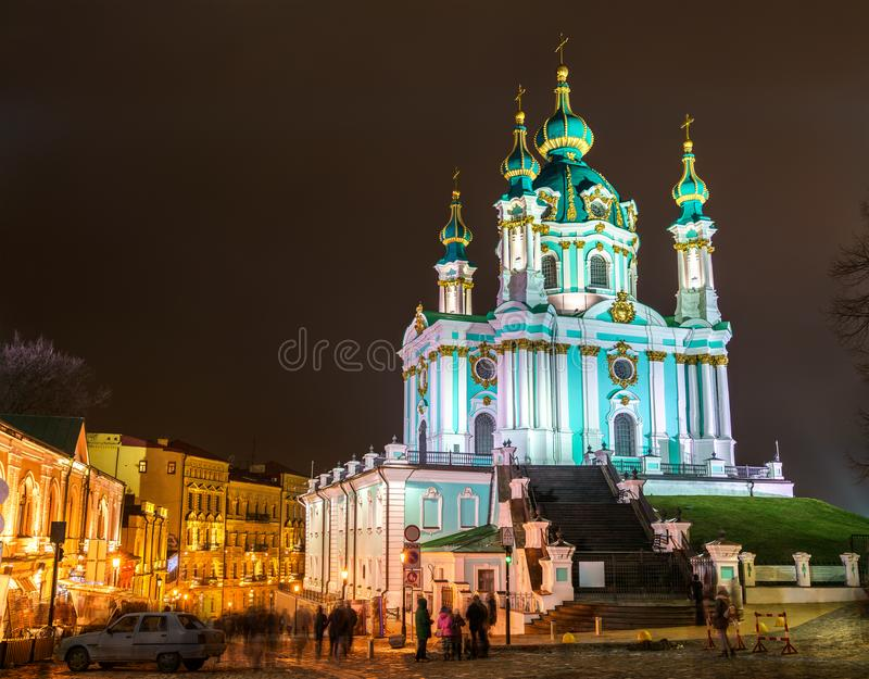 St Andrew Church, um dos marcos de Kiev, Ucrânia foto de stock royalty free