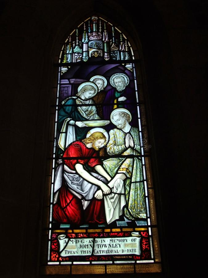 St. Andrew's Cathedral stained glass art stock image