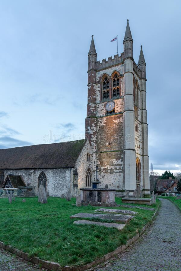 St Andrew`s Church Backyard with cemetery. Anglican parish church in the center of Farnham, Surrey, England stock photography