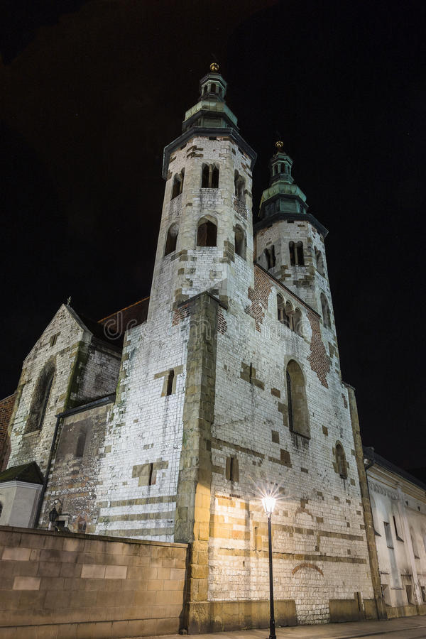 St. Andrew's Church on Grodzka Street by night stock photos
