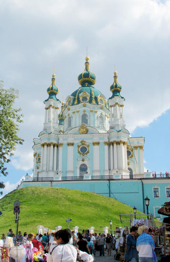 St Andrew's Church, Kiev, Orthodox church stock images