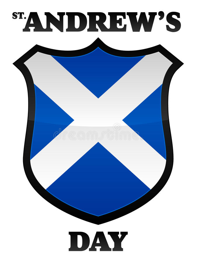 St Andrew's Day. An illustration of a scottish flag in the shape of a shield celebrating Saint Andrew's Day held in November. Text place on separate layer for royalty free illustration
