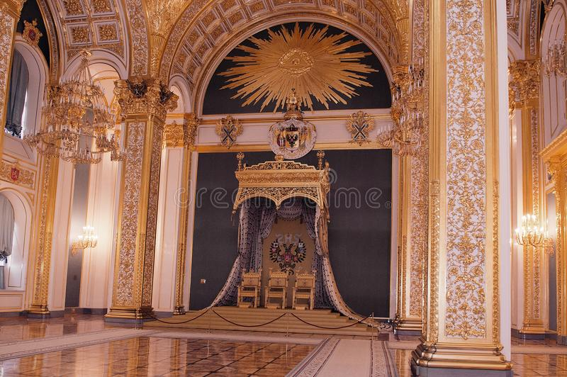 St Andrew`s hall in the Kremlin, Moscow 2017 stock image