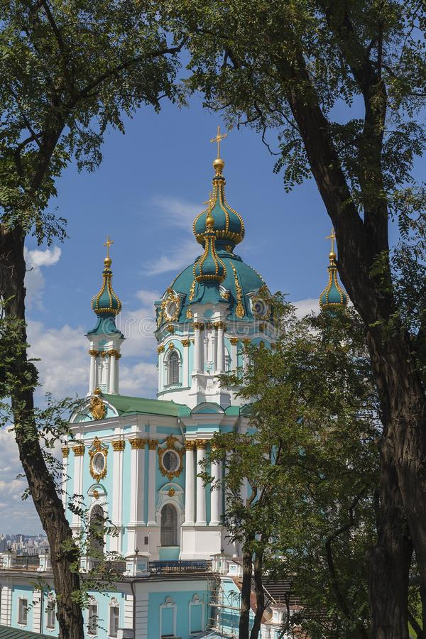 St Andrew ` s Kerk in het historische deel van Kiev royalty-vrije stock afbeeldingen