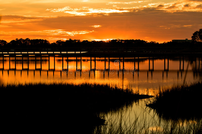 St. Andrews Bay, Florida. St. Andrews Bay Sunset in Panama City, Florida royalty free stock photography