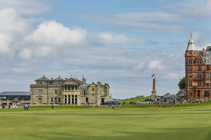 St. Andrews Clubhouse and Golf Course of the Royal & Ancient where golf was founded in 1754, considered by many to be the royalty free stock photography
