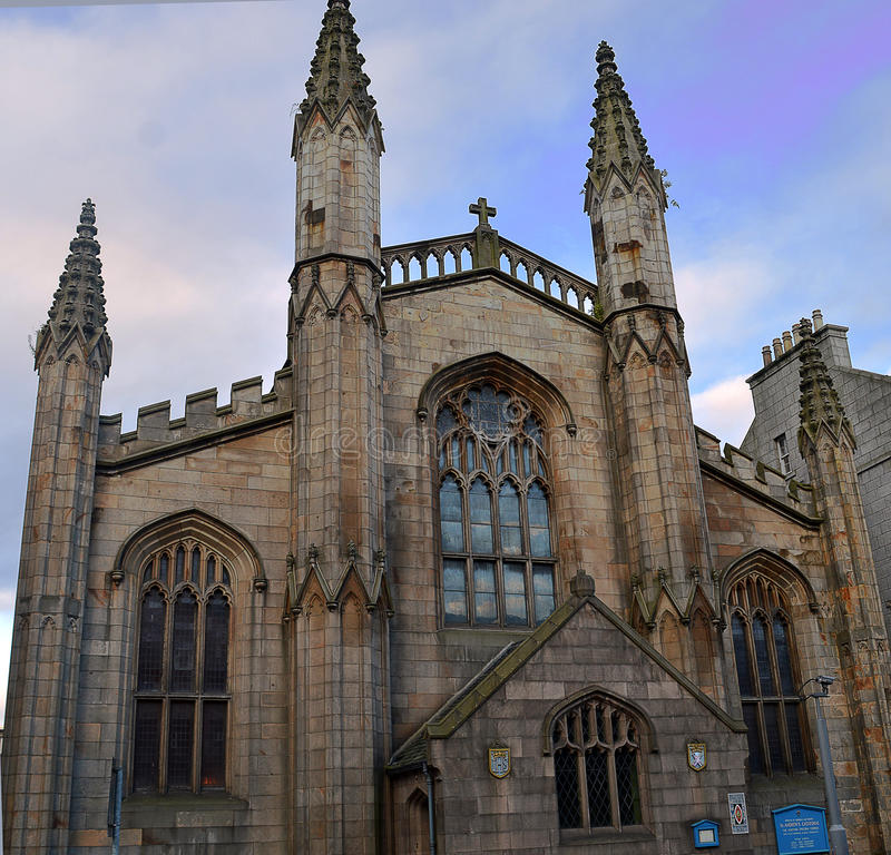 St Andrews Episcopal Cathedral, Aberdeen, Scotland. Mother church of the Anglican Communion in the United States. Facade of the cathedral, constructed in stock photos