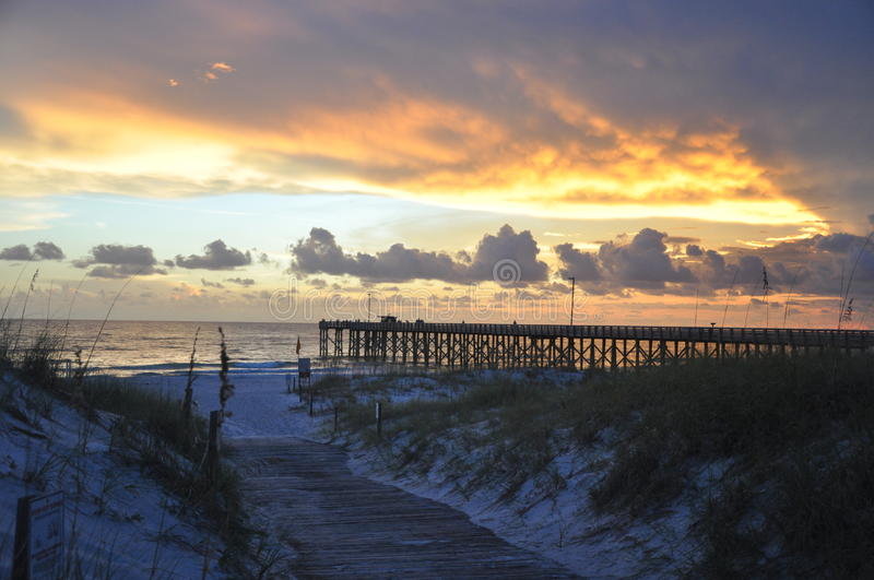 St. Andrews State Park Pier at Sunset stock photography