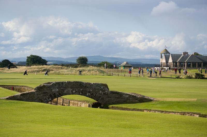 St Andrews in Summer. St. Andrews, Scotland in the summer sun. The famous bridge at the birthplace of golf stock images
