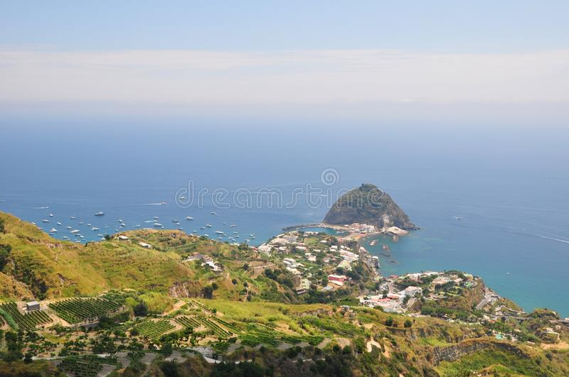 Sant Angelo beach vineyards Ischia Italy royalty free stock images