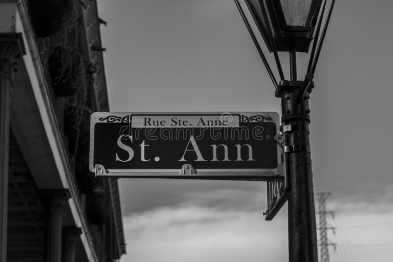 St. Ann street sign in New Orleans stock image