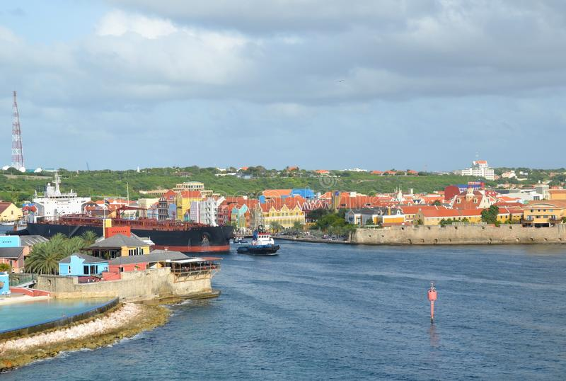 St Anna Bay in Willemstad, Curacao stock afbeelding