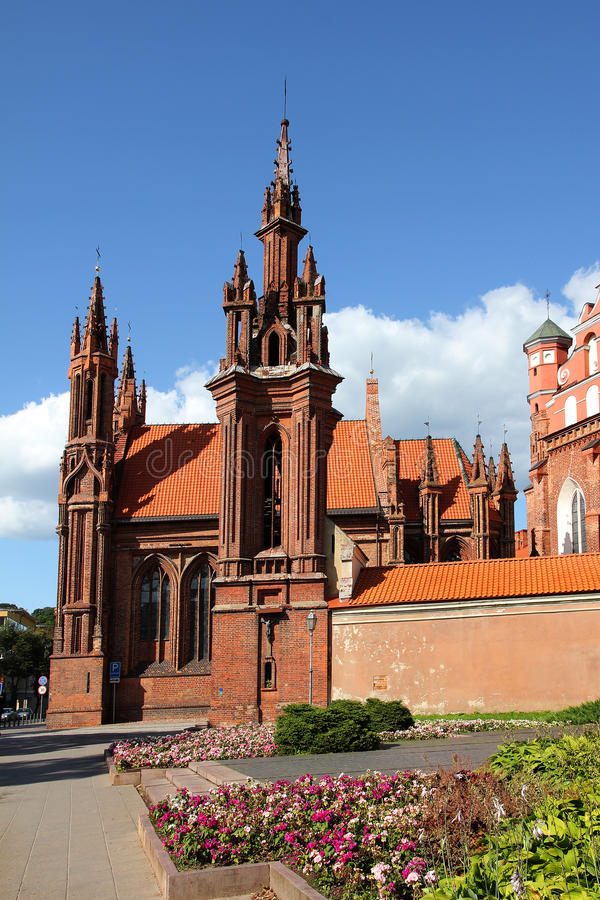 St. Anna Kerk in Vilnius, Litouwen. stock foto's