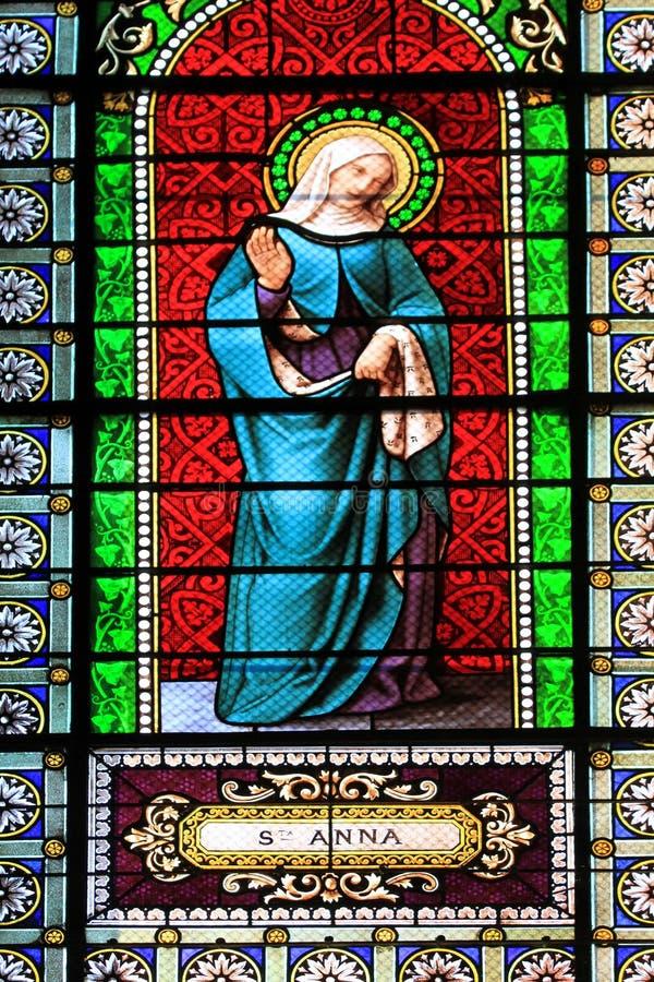 St Anna målad glas arkivbild