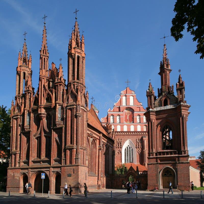 St Anne e chiesa di Bernardinu a Vilnius fotografie stock libere da diritti