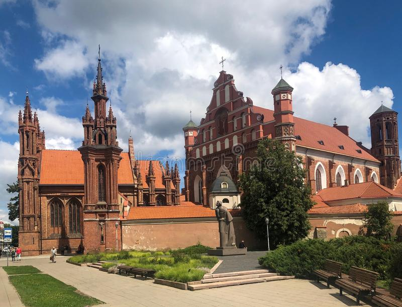 St. Anne`s Church and Bernardine Monastery. Vilnius, Lithuania, Europe July 2019 royalty free stock photo