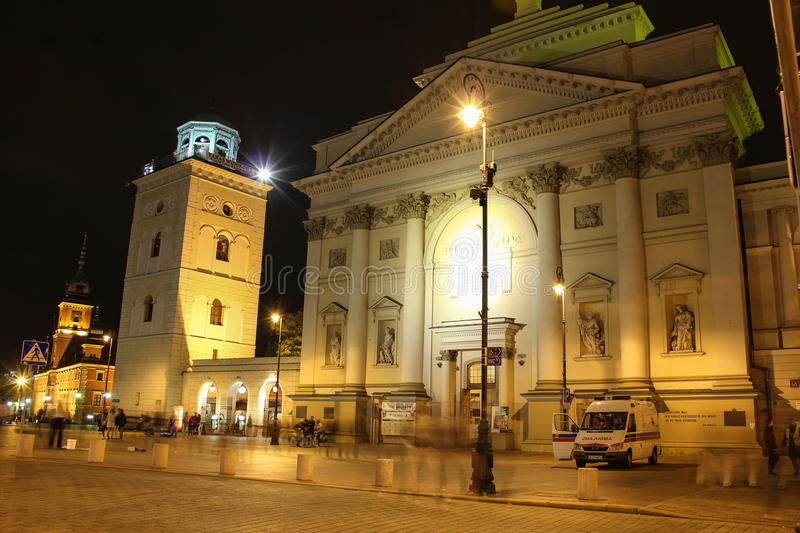 St Anne S Church At Night. Warsaw.Poland Editorial Photography