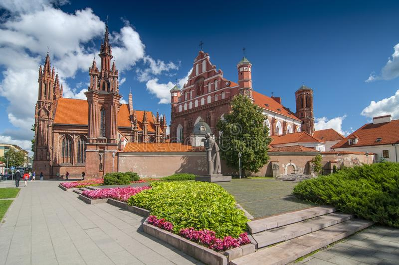 St. Anne`s church in Vilnius old town, Lithuania.  stock photos