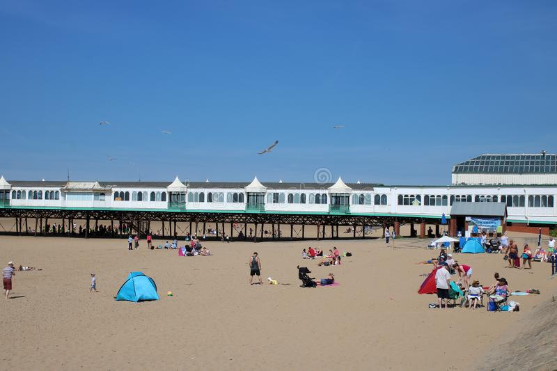 St Anne`s pier and beach at St Anne`s-on-the-Sea royalty free stock photo