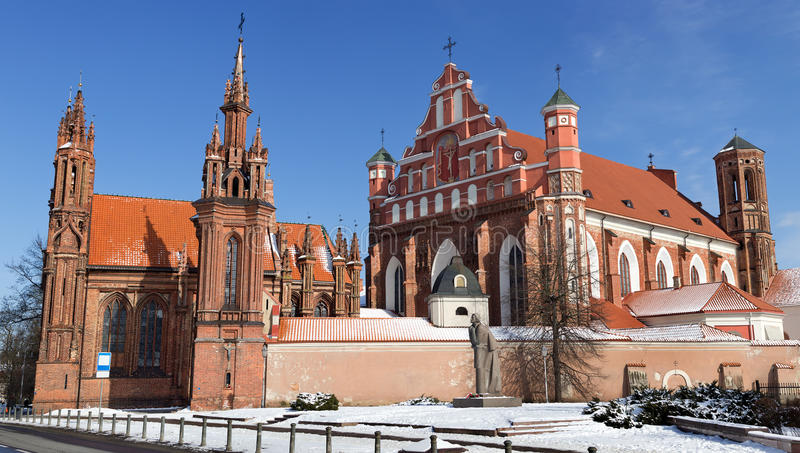 Ensemble of St Annes and Bernardines Churches. The St. Annes Church and Bernadines Church with the monastery are a fine Lithuanian Gothic ensemble located just stock image