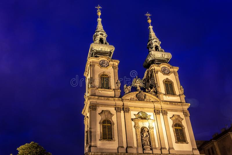 St Annes Church in Budapest. St Annes Church during the blue hour in Budapest, Hungary royalty free stock photos
