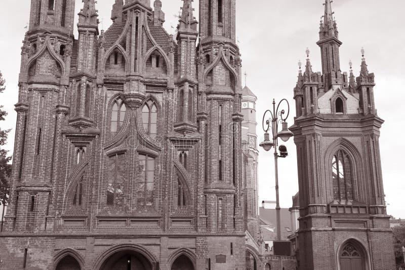 St Annes Church, Vilnius, Lithuania. In Black and White Sepia Tone stock photos