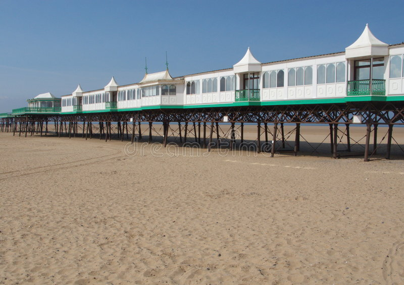 St Annes Pier. The Victorian Pleasure Pier at St Annes is a metal structure stock photos
