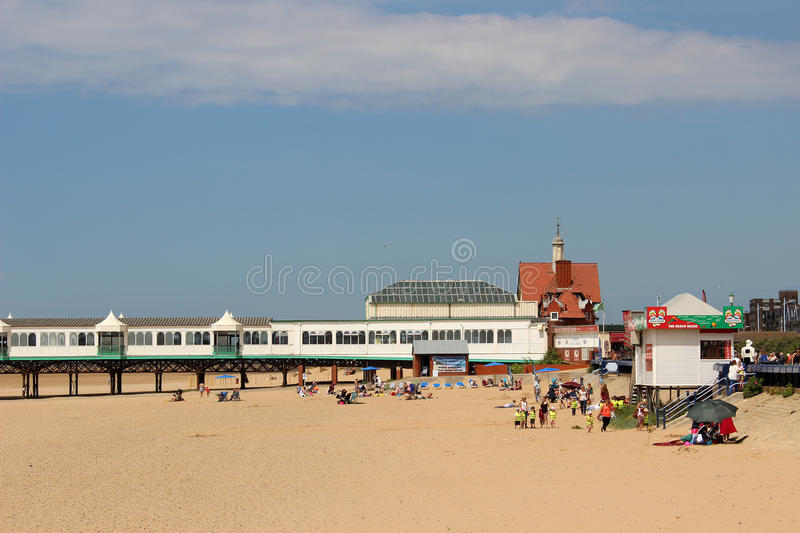 St Annes pier and beach, Lancashire, England stock image