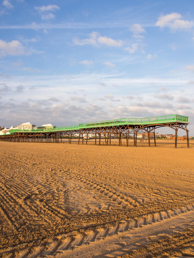 St annes pier. St Annes, Lancashire, UK. June 15th 2015. The pier at St Annes at low tide stock images